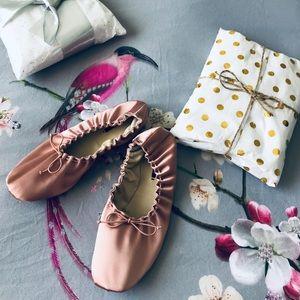 Zara Blush Satin Elastic Ballet Flats
